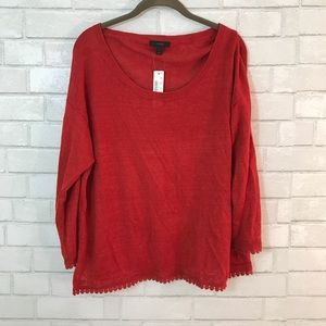 J.Crew Burnt Orange Linen Sweater Pom Pom Trim Top